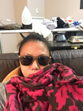 This is what Bell's Palsy + Sinus infection looks like. I had to wear sunglasses inside because the lights made my eyes feel sensitive.